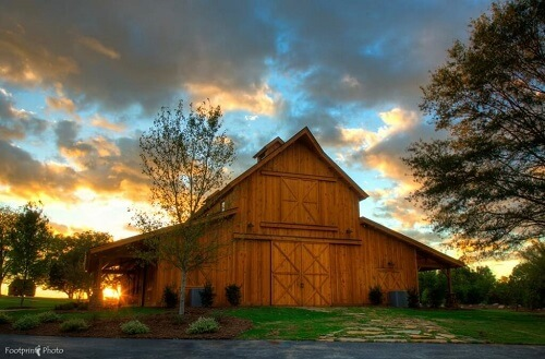 Windy Hill Event Barn at sunset