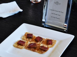 Togarachi Crusted Ahi tuna with wasabi aioli on crisp wonton