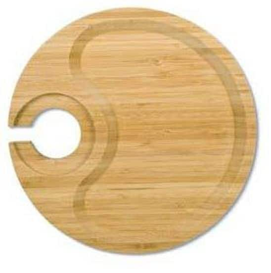 Round Wine Party Plate With Built-in Stemware Holder, Bamboo