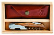 Laguiole Millésime Genuine Olivewood Set with Wood Box and Leather Pouch
