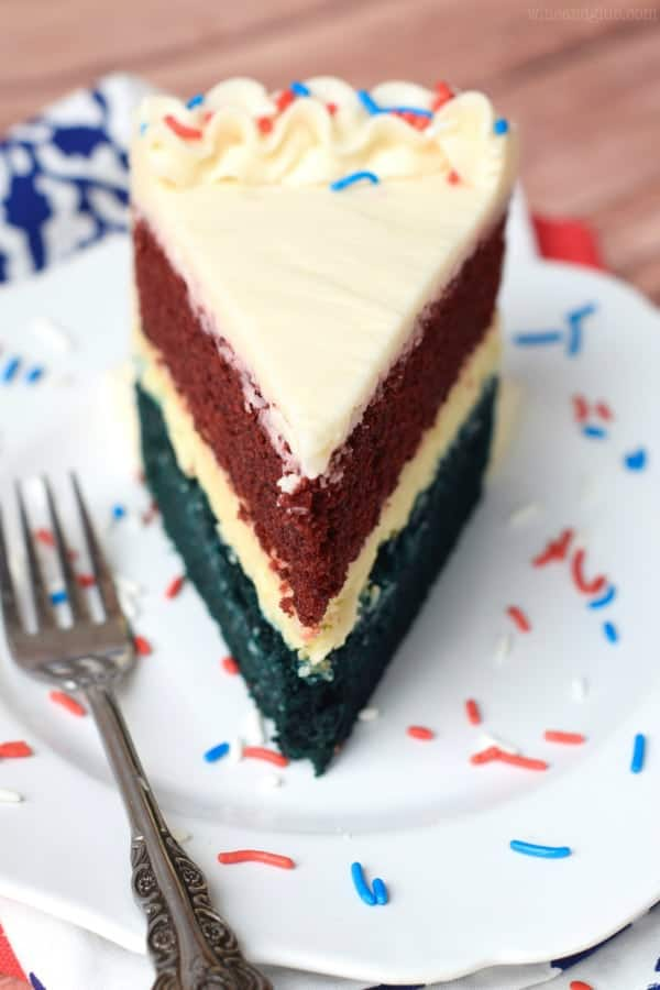 Red, White, and Blue Cheesecake Cake {Wine & Glue}