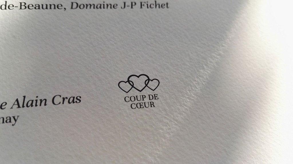 Wine List Restaurant L'Envie - Coup de Coeur