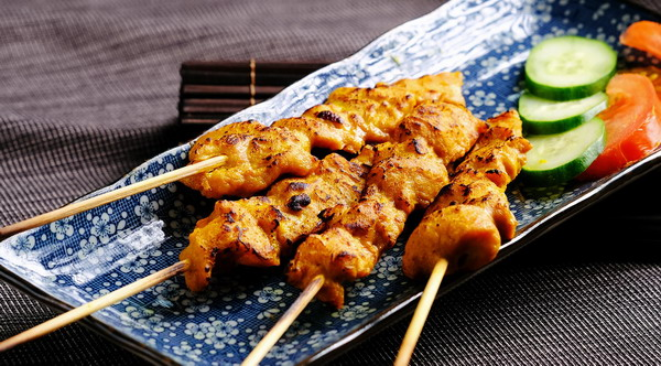 Spicy Pork Skewers with Romesco Sauce