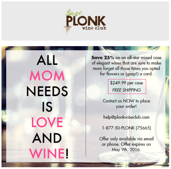 Plonk Wine Club Mother's Day Sale