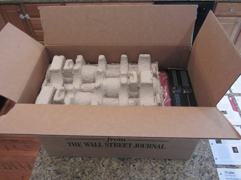 Our Wall Street Journal Wine Club Review includes this picture of us opening the 1st box we received