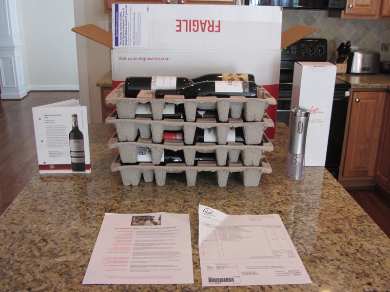 12 bottles of red wine from Virgin Wines