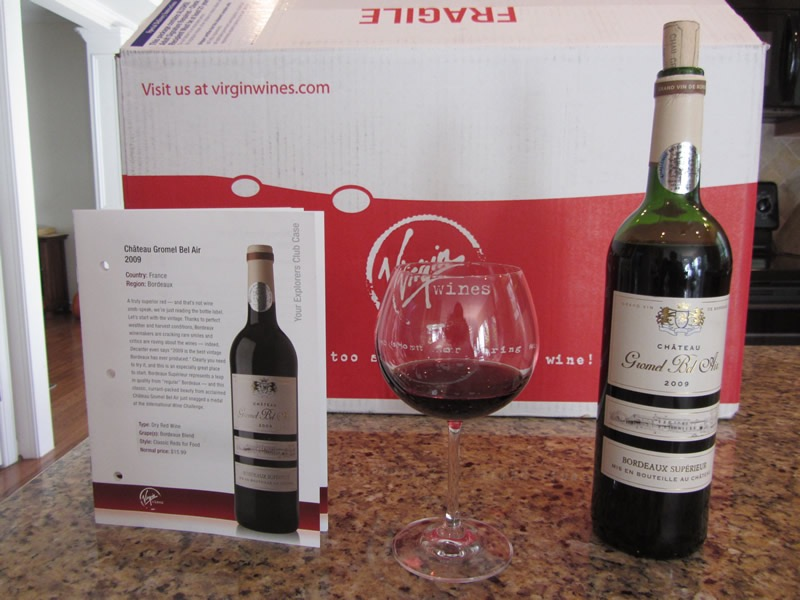An open bottle of red wine from Virgin Wines