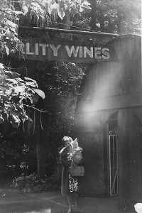 My mother holds our 1st while we taste at Simi. Check out the redwood barrel tasting room.