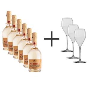"""Box 6 bottiglie Valdobbiadene Prosecco Superiore DOCG Brut """"Nebbia"""" 2019 + OMAGGIO"""