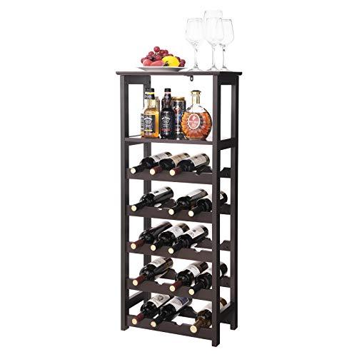 2 Tiers Wine Rack Natural Bamboo 12 Bottle Holder Bar 9.8/'/' Display Shelf Stand