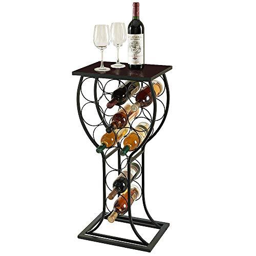 Soduku Wine Rack Wall Mounted Handmade Metal /& Wood Wine Countertop Rack Wine Storage Shelf with 4 Bottle Cages /& 6 Long Stem Glass Walnut