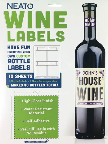 Neato Blank Wine Bottle Labels