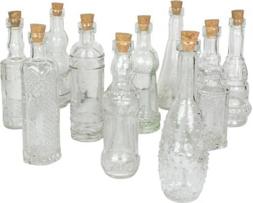 Vintage Glass Bottles with Corks