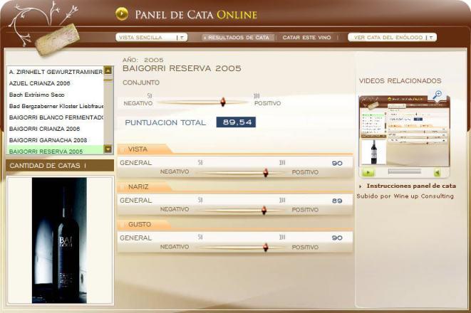 panel de cata baigorri reserva 2005