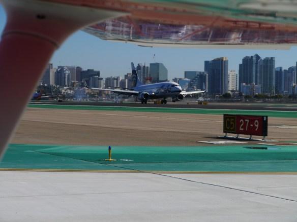 Alaska Airlines lands just after us at KSAN