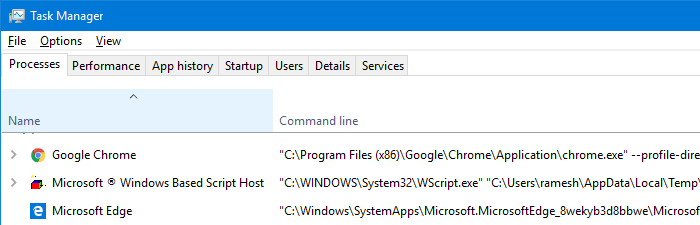 task manager show command line