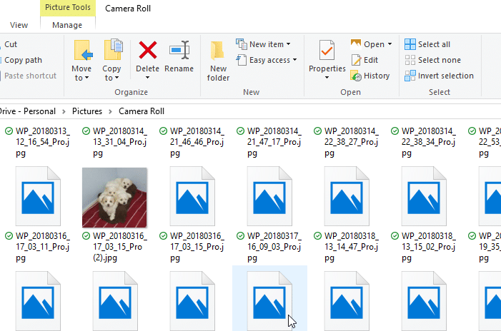 thumbnail previews don't show in onedrive folders