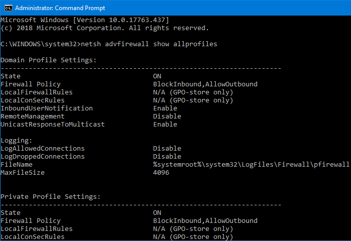 netsh firewall show profiles state