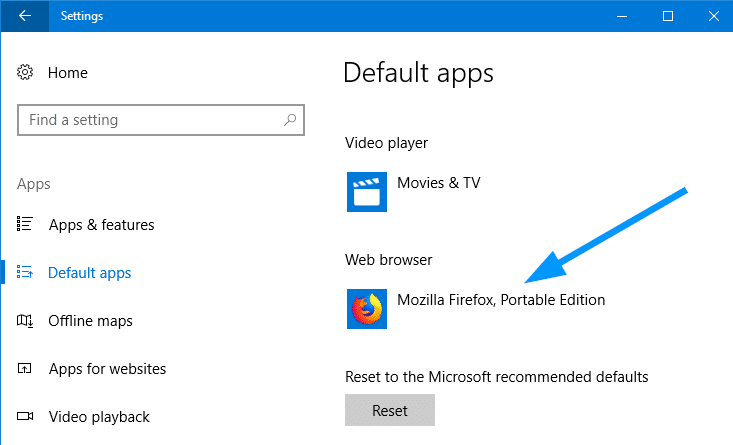 firefox portable register with default apps in windows 10