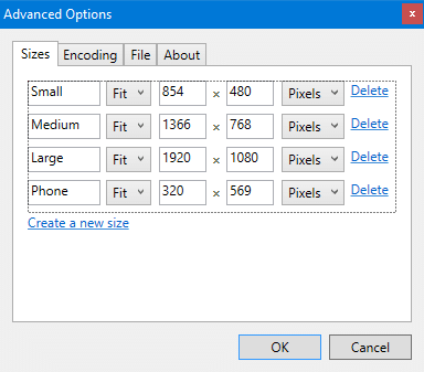 resize images right-click menu