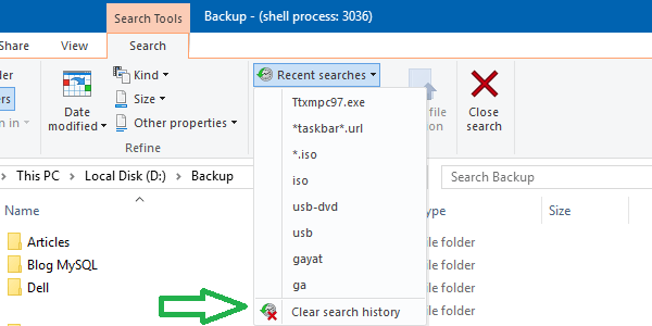 clear file explorer search history