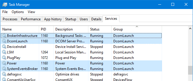 view services running under svchost.exe