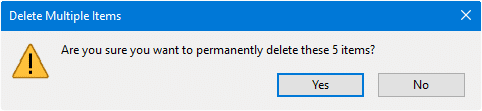 recycle bin delete confirmation prompt