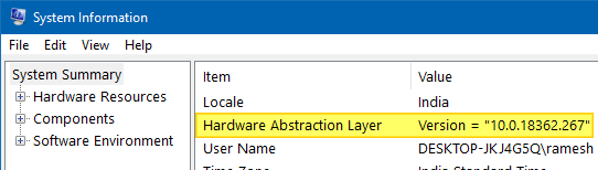 find windows 10 version build bitness msinfo32