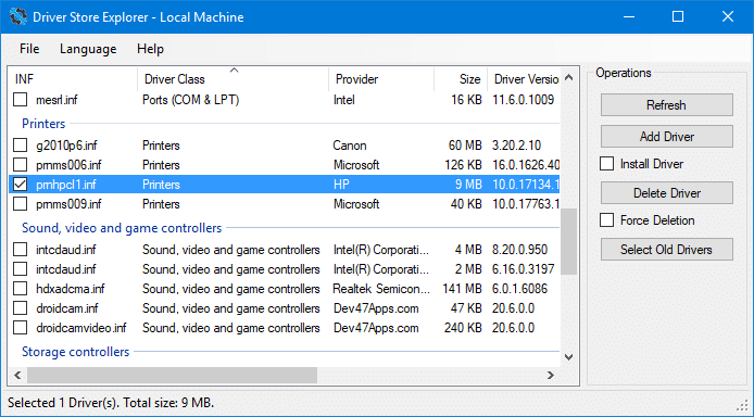 driverstore explorer - remove old printer driver packages