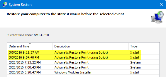 Create Daily System Restore Points Automatically