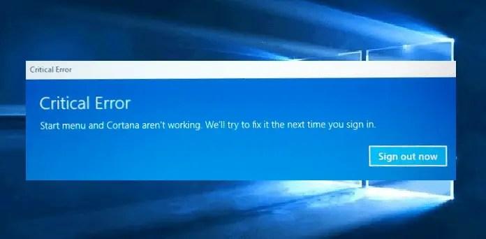 windows 10 start menu does not work