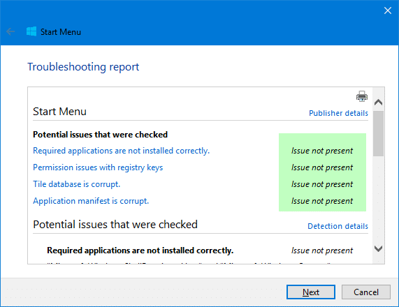 start menu troubleshooter for Windows 10