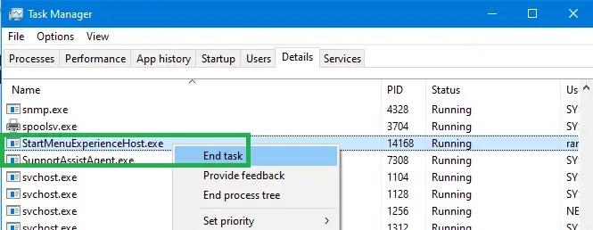 Reinstall or Repair stuck Windows 10 Start Menu & Taskbar