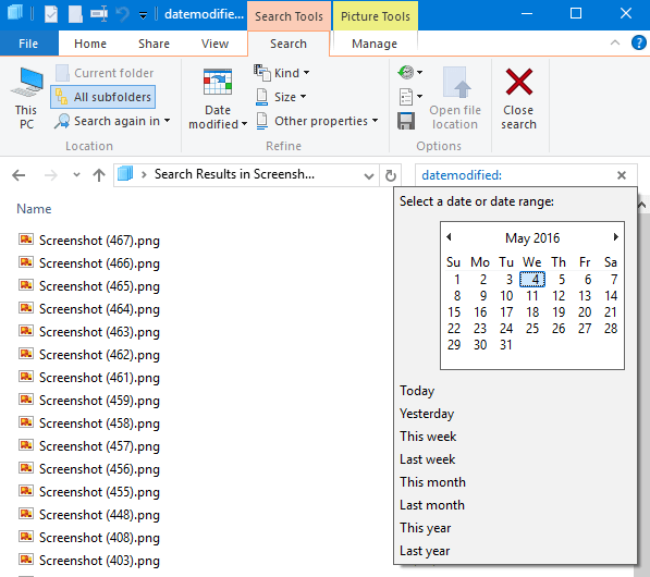 search for files within a date range