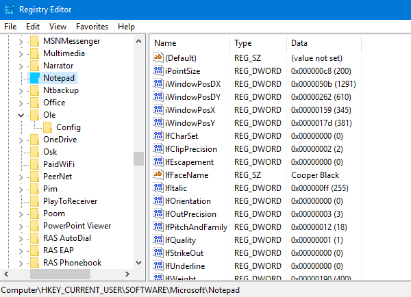 Notepad reset settings