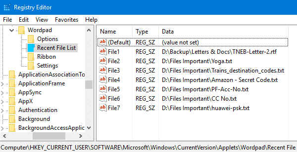 WordPad MRU reset