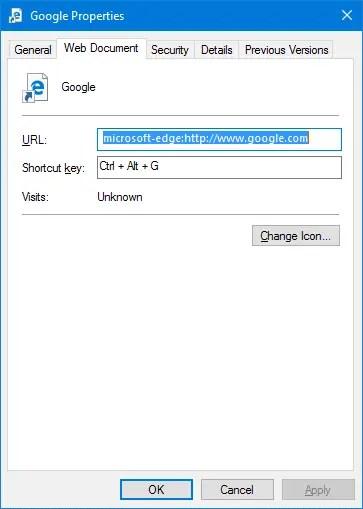 edge url shortcut