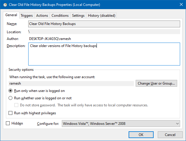 file history older versions cleanup fhmanagew scheduled task