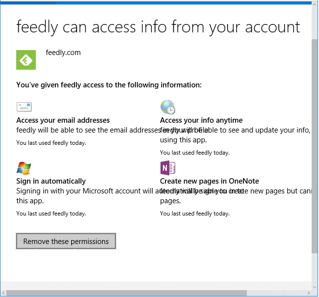 Revoke Microsoft Account Info Access Permissions for Apps