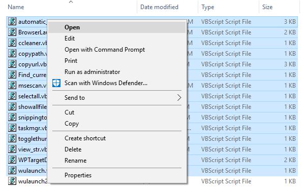 context menu missing 15 files