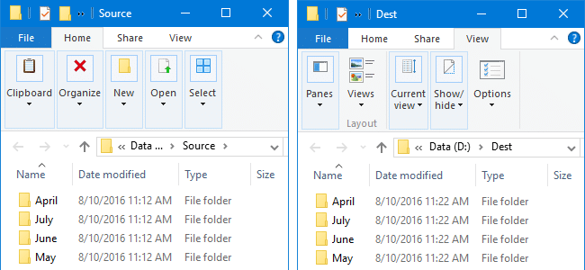 compare two folders and files list