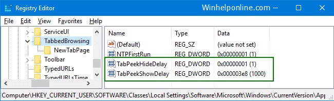 edge tab preview show delay
