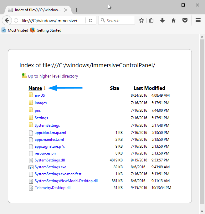 print directory contents chrome firefox