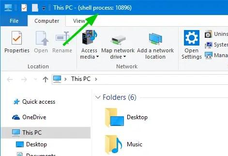 show process id explorer title bar