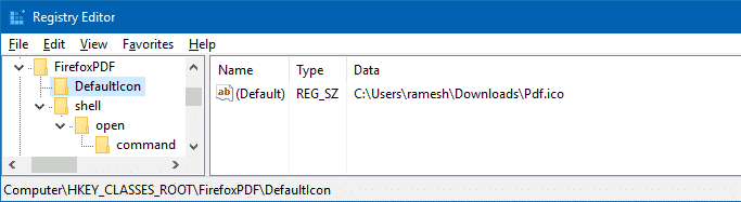 change firefox pdf file icon