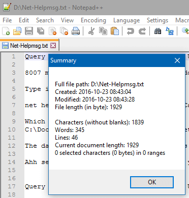 Find the Amount of Words, Chars and Lines in a Text File