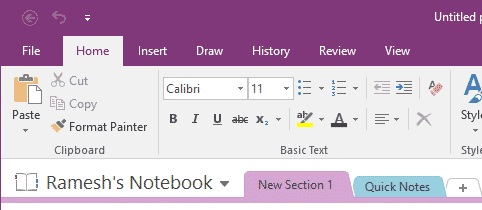 onenote 2016 reset ribbon toolbar