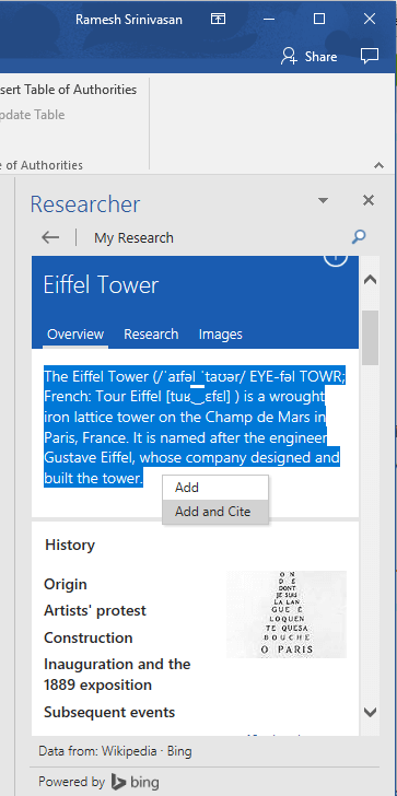 word 2016 researcher office 365