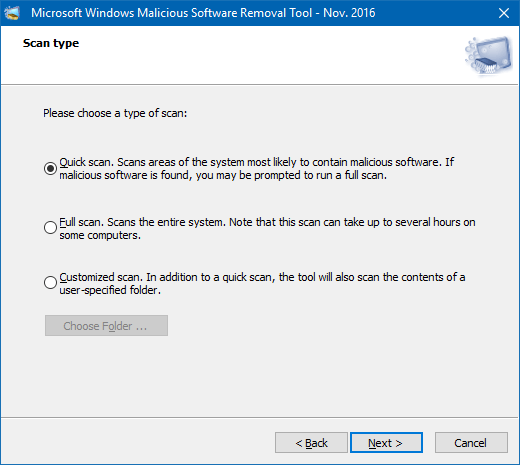 Scanning your PC using Malicious Software Removal Tool (MSRT