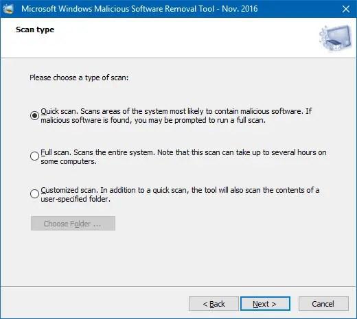 run a scan using msrt